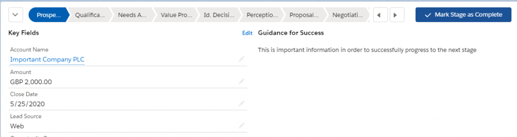 Screenshot showing Path on an Opportunity record, as part of Sales Cloud Lightning.