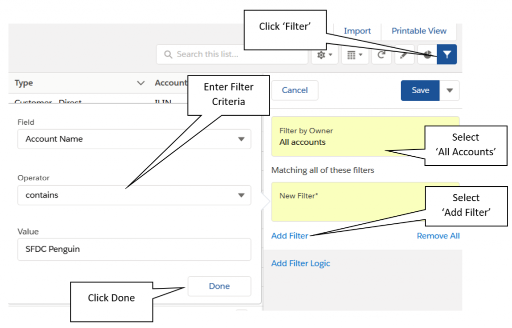 Screenshot of how to add filters to a List View within Lightning Experience