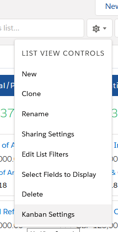 Screenshot showing how to access Kanban Settings (via List View Controls)